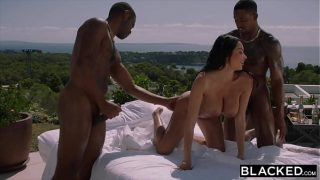 Hot French girl gets Dped by two huge Bbcs at party